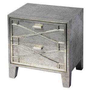 Harlow Silver Embossed Metal Bedside Cabinet - Bedside Table