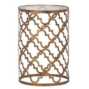 Harriet Aged Gold Quatrefoil End Table - side table