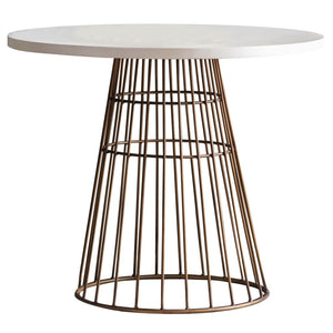 Harvey White Concrete & Bronze Dining Table - Dining Table