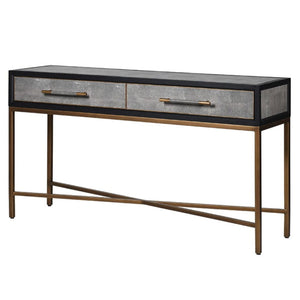 Henley Black Oak Brass & Shagreen Console Table - console