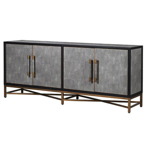 Henley Black Oak Brass & Shagreen Sideboard - sideboard