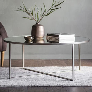 Hudson Silver & Glass Round Coffee Table - Coffee Table