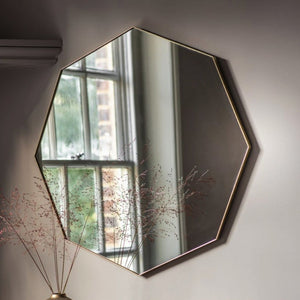 Issy Champagne Gold Octagonal Wall Mirror - Wall Mirror