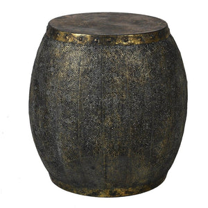 Jasmin Distressed Gold Metal Drum Side Table - side table