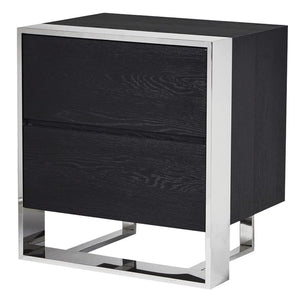 Kailani Stainless Steel & Black Wood Bedside Cabinet - Bedside Table