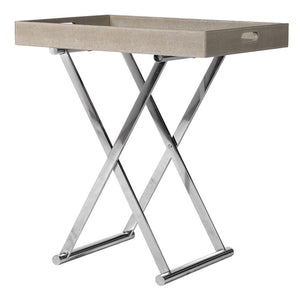 Kenton Chrome & Beige Butlers Tray Table - side table