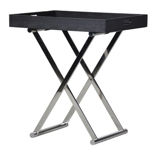Kenton Chrome & Black Butlers Tray Table - side table