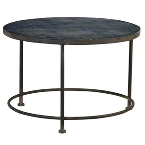 Kimber Prussian Blue Abstract Glass Top Coffee Table - Coffee Table