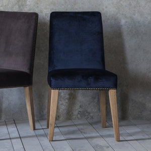Kinsley Midnight Blue Velvet Dining Chairs (Set of 2) - Dining Chairs
