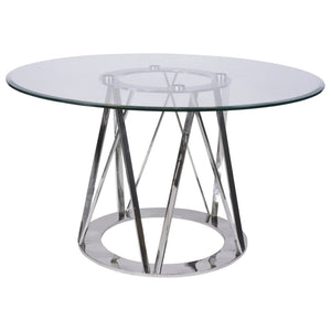 Langley Stainless Steel and Glass Dining Table - Dining Table