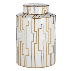 Large White & Gold Ceramic Jar - Jar