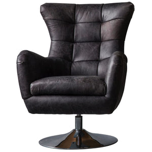 Lawson Black Leather Swivel Chair - Accent Chair