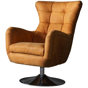Lawson Tan Leather Swivel Chair - Accent Chair