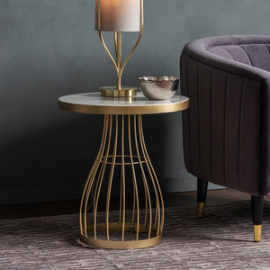 Leona Champagne Round Side Table - side table