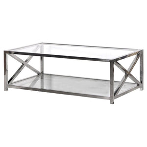 Lexington X-Frame Stainless Steel & Glass Coffee Table - Coffee Table