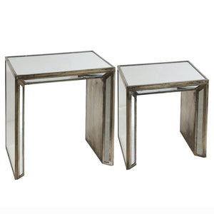 Liang & Eimil Antique Silver Mirrored Nest of Tables - side table