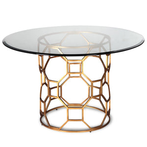 Liang & Eimil Central Antique Gold and Glass Dining Table - Dining Table