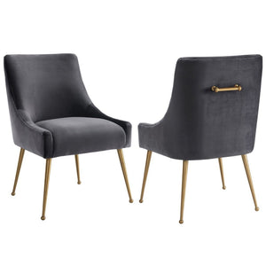Liang & Eimil Cohen Night Grey Velvet Dining Chair - Dining Chairs