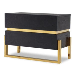 Liang & Eimil Enigma Black Ash and Brass Bedside Table - Bedside Table