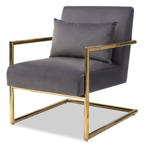 Liang & Eimil Enzo Grey Velvet and Polished Gold Accent Chair - Accent Chair