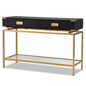 Liang & Eimil Genoa Black Ash and Brass Console Table - Console Table