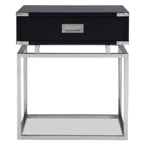 Liang & Eimil Genoa Black Ash and Stainless Steel Side Table - side table