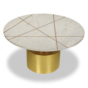 Liang & Eimil Havanna Brass and White Marble Coffee Tables - Coffee Table