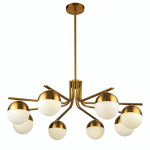 Liang & Eimil Kirby Brass and White Glass Pendant Lamp - Ceiling Lamp
