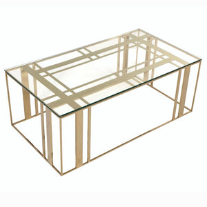 Liang & Eimil Lafayette Polished Brass and Glass Coffee Table - Coffee Table