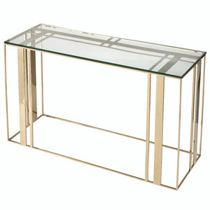 Liang & Eimil Lafayette Polished Brass and Glass Console Table - Console Table