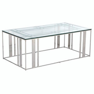 Liang & Eimil Lafayette Polished Stainless Steel and Glass Coffee Table - Coffee Table