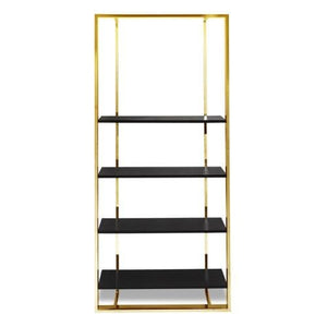 Liang & Eimil Lennox Wenge Oak and Polished Brass Bookcase - Bookcase