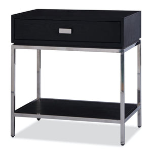 Liang & Eimil Levi Black Ash and Polished Steel Bedside Table - Bedside Table