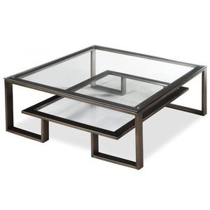 Liang & Eimil Mayfair Antique Bronze and Glass Coffee Table - Coffee Table