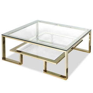 Liang & Eimil Mayfair Gold and Glass Coffee Table - Coffee Table