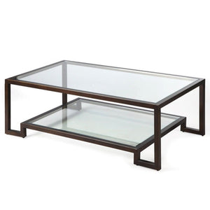 Liang & Eimil Ming Antique Bronze and Glass Coffee Table - Coffee Table