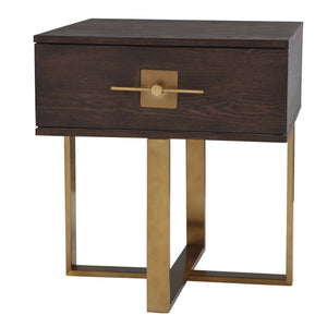 Liang & Eimil Ophir Dark Brown Oak and Brass Bedside Cabinet - Bedside Table