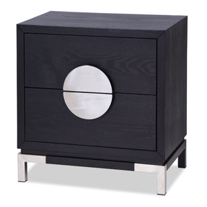 Liang & Eimil Otium Black Ash and Silver Bedside Table - Bedside Table