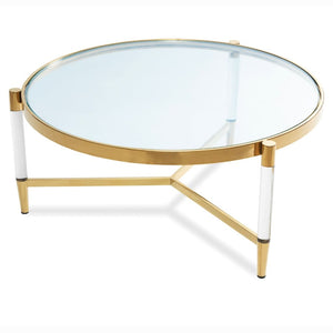 Liang & Eimil Ralph Glass and Brass Coffee Table - Coffee Table