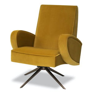 Liang & Eimil Strata Mustard Velvet Accent Chair - Accent Chair