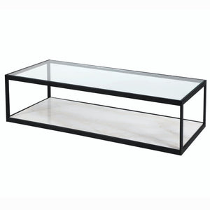 Liang & Eimil Tamon Black Steel and White Marble Coffee Table - Coffee Table
