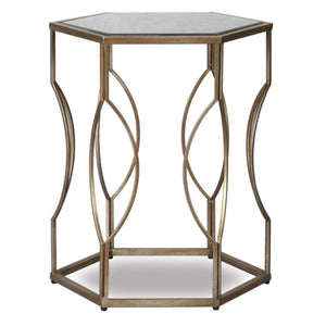Liang & Eimil Tao Antique Silver and Mirrored Top Side Table - side table