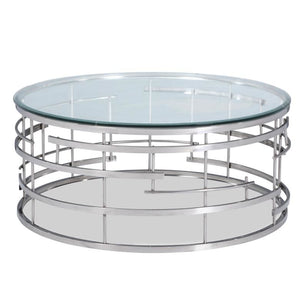 Liang & Eimil Viena Stainless Steel and Glass Coffee Table - Coffee Table