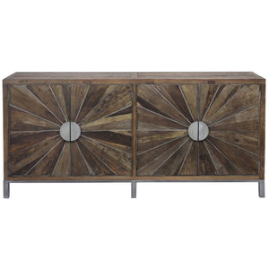 Lowell Reclaimed Elm & Brushed Silver Sideboard - sideboard