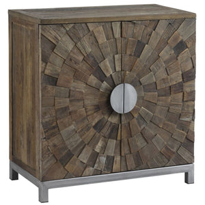 Lowell Reclaimed Elm & Brushed Silver Small Sideboard - sideboard