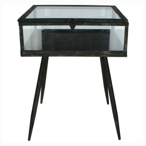 Maddox Antique Black and Glass Bedside Tables (Set of 2) - Bedside Table
