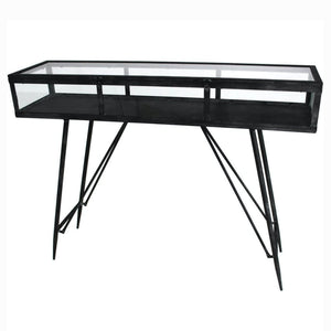 Maddox Antique Black and Glass Console Table - Console Table