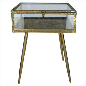 Maddox Antique Gold and Glass Bedside Tables (Set of 2) - Bedside Table