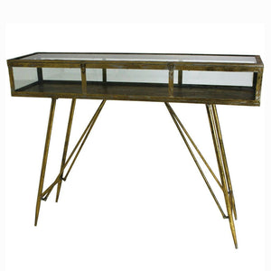 Maddox Antique Gold and Glass Console Table - Console Table