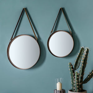 Marston Mirror With Leather Hanging Strap (Set Of 2) - Wall Mirror